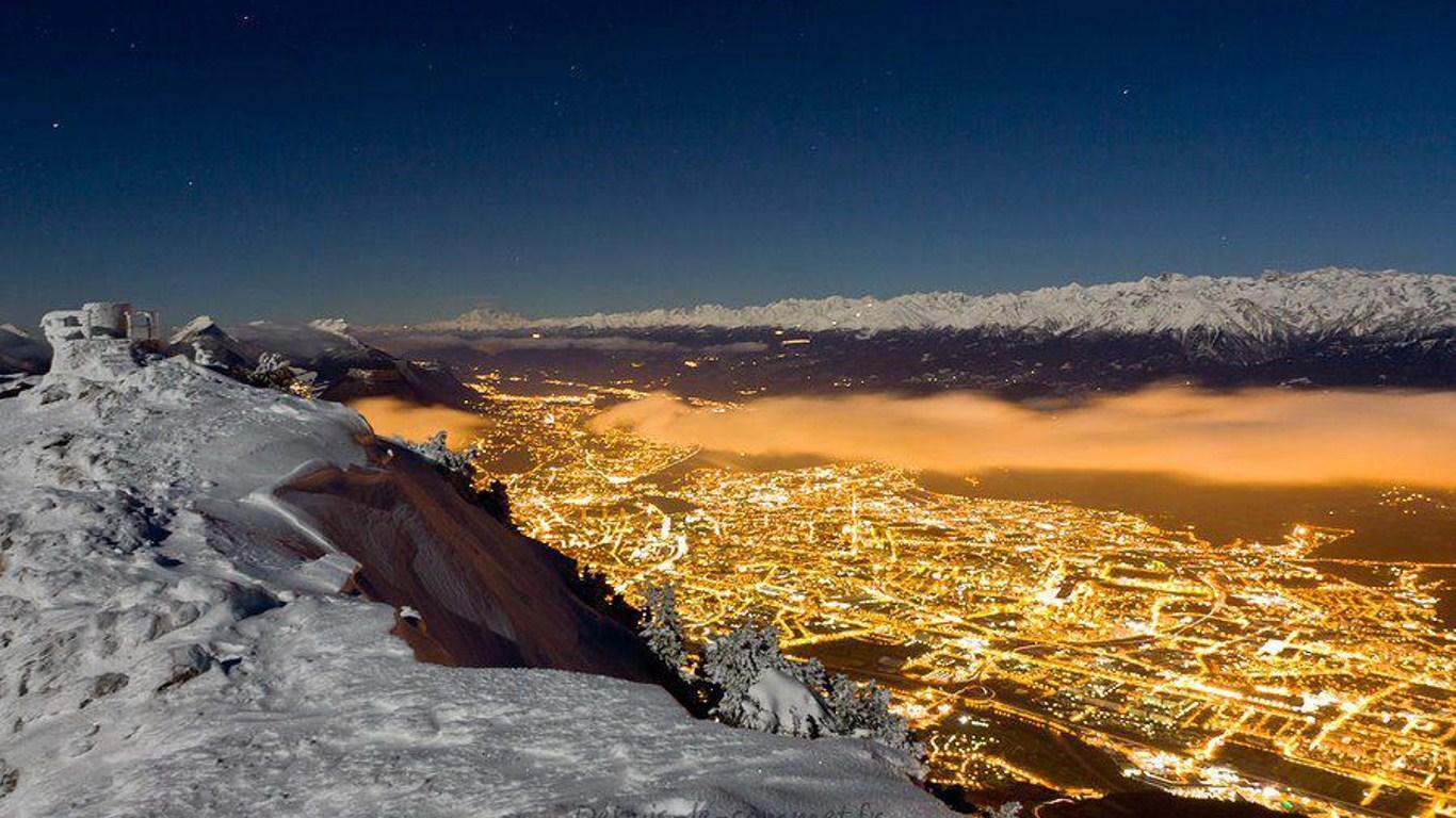 paysage nuit et neige